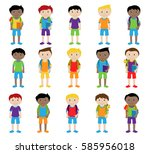 collection of cute and... | Shutterstock .eps vector #585956018