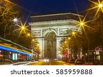 the triumphal arch in evening ... | Shutterstock . vector #585959888