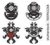 set of vintage diver helmets.... | Shutterstock .eps vector #585961268