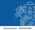 technical blue background with... | Shutterstock .eps vector #585964088
