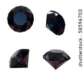 Round Black Sapphire Isolated...