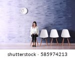 young woman waiting for job... | Shutterstock . vector #585974213
