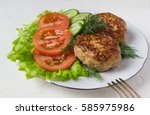 fried cutlets  and vegetable. | Shutterstock . vector #585975986