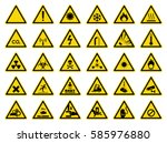 set of triangle yellow warning... | Shutterstock .eps vector #585976880
