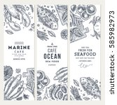 seafood banner template set.... | Shutterstock .eps vector #585982973
