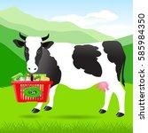 vector illustration. dairy... | Shutterstock .eps vector #585984350