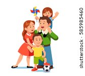 happy parents mom and dad... | Shutterstock .eps vector #585985460