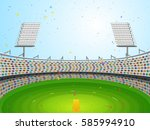 view of cricket stadium with... | Shutterstock .eps vector #585994910