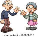 cartoon grandparents. vector... | Shutterstock .eps vector #586000010