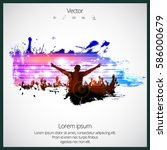 silhouette of dancing people | Shutterstock .eps vector #586000679