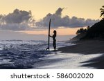 Silhouette Of Young Surfer Gir...
