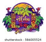 hawaii. tiki statues  palm... | Shutterstock .eps vector #586005524