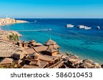 panorama of the beach with...   Shutterstock . vector #586010453