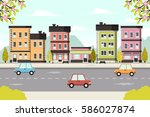 urban spring landscape. flat... | Shutterstock .eps vector #586027874