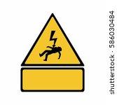 electricity hazard sign vector... | Shutterstock .eps vector #586030484