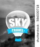 ballooning logo on the blur... | Shutterstock .eps vector #586030718