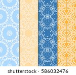 set of spring seamless pattern... | Shutterstock .eps vector #586032476