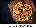 cut into slices delicious fresh ... | Shutterstock . vector #586039004