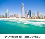 surfers paradise beach on a... | Shutterstock . vector #586039580