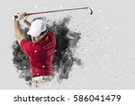 golf player with a red uniform... | Shutterstock . vector #586041479