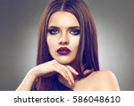 face portrait of young woman... | Shutterstock . vector #586048610