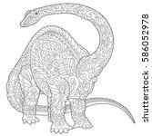 stylized brontosaurus dinosaur  ...   Shutterstock .eps vector #586052978