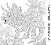 stylized triceratops dinosaur... | Shutterstock .eps vector #586052990