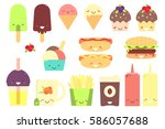fast food sticker set.  | Shutterstock . vector #586057688