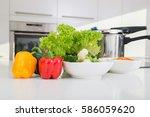 pressure cooker and vegetables... | Shutterstock . vector #586059620