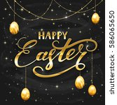 golden lettering happy easter... | Shutterstock .eps vector #586065650