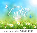 nature easter background with a ... | Shutterstock .eps vector #586065656