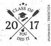 vector class of 2017 badge.... | Shutterstock .eps vector #586067324