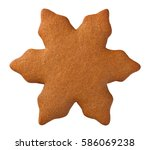 gingerbread star cookie for...   Shutterstock . vector #586069238