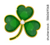 shamrock badge with emeralds on ... | Shutterstock . vector #586069568