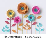 Stock photo  d illustration vivid paper flowers bright holiday floral background mother s day greeting card 586071398