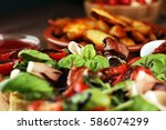 italian antipasti snacks set.... | Shutterstock . vector #586074299