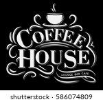 retro vintage coffee logo with... | Shutterstock .eps vector #586074809