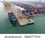 industrial with containers ... | Shutterstock . vector #586077314