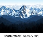 vector himalaya alps morning...   Shutterstock .eps vector #586077704