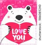 polar white bear greeting...   Shutterstock .eps vector #586085240