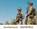 us army rangers with weapons in ... | Shutterstock . vector #586085864