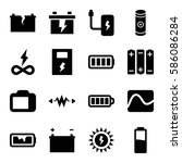 set of 16 battery filled icons... | Shutterstock .eps vector #586086284