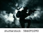pair of army soldiers attacking ... | Shutterstock . vector #586091090