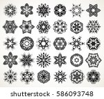 set of ornate lacy doodle... | Shutterstock . vector #586093748