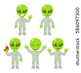 cute cartoon alien set. little... | Shutterstock .eps vector #586097300