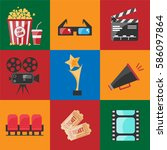 cinema set flat icon. vector... | Shutterstock .eps vector #586097864