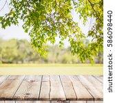 empty wooden table with garden... | Shutterstock . vector #586098440