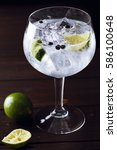 Gin Tonic With Ice  Lime And...