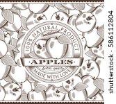 vintage apple label on seamless ... | Shutterstock .eps vector #586112804