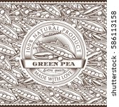vintage green peas label on... | Shutterstock .eps vector #586113158